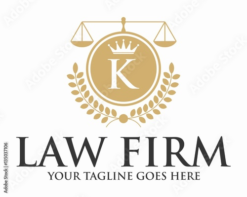 initial k law firm with crown and crest logo template stock image