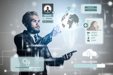 Young businessman with icons media network connection.