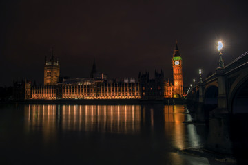 Palace of Westminister at night, british Parliament,  London, UK