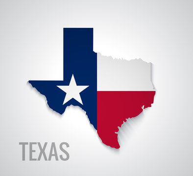 Map of Texas. Abstract vector map with flag
