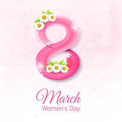 8 March, International Women's Day. Greeting card