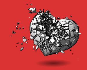 Broken heart drawing illustration on red BG