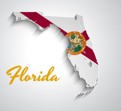 Map of Florida . Abstract vector paper map with state flag