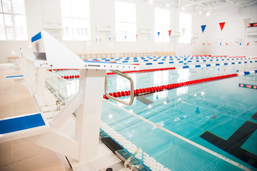 Lanes of a competition swimming pool