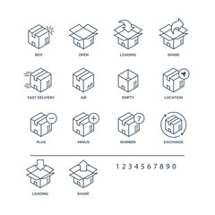 Set of box icons black color for delivery and logistic