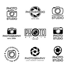 Set of photography logo and photo studio label