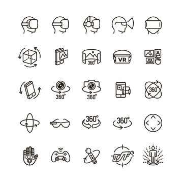 Set of virtual reality icons black think line style