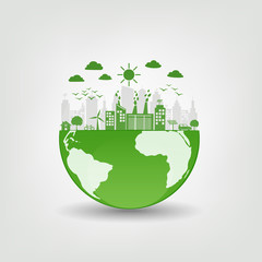 Environmentally friendly concept, Green city on earth