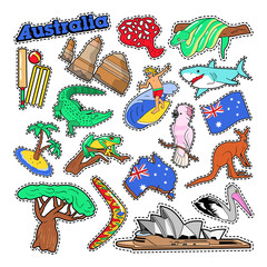Australia Travel Elements with Architecture and Animals. Vector Doodle