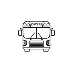 School bus line icon, student transport, high school service vector graphics, a linear pattern on a white background, eps 10.