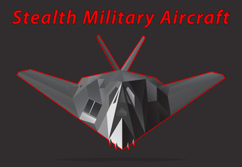 Stealth Military Aircraft. Black background. Vector illustration