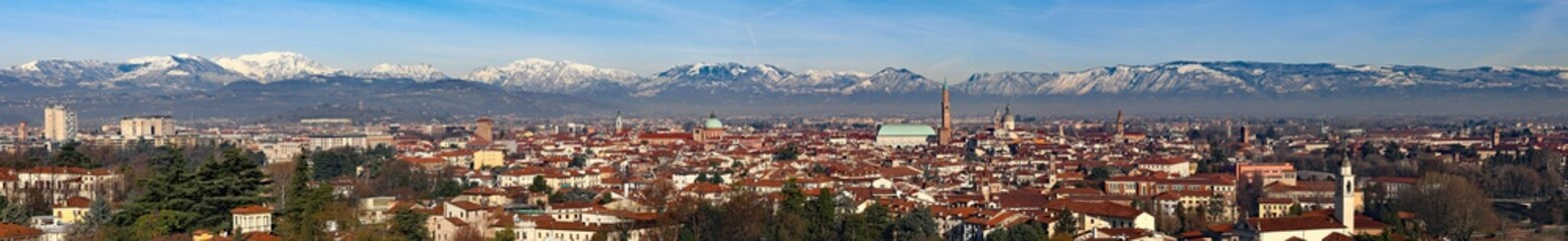 Vicenza city in Italy with Basilica Palladiana, houses, landmark