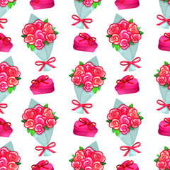 Seamless pattern of Valentine with bouquet and a gift box icons. Colorful cartoon illustration for Valentine's Day greeting card and decoration. Vector.