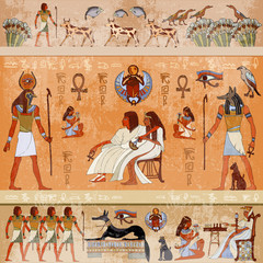 Ancient Egypt scene mythology. Egyptian gods and pharaohs