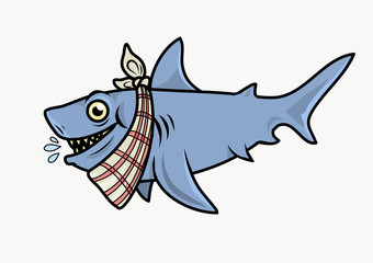 A hungry shark with a napkin in his neck. Vector Illustration.
