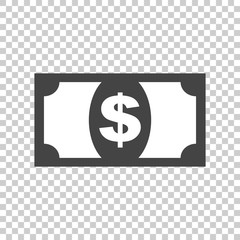 Money icon. Vector illustration in flat style. Dollar on isolated background.