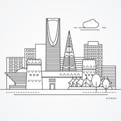 Linear illustration of Riyadh, Saudi Arabia. Flat one line style. Trendy vector illustration