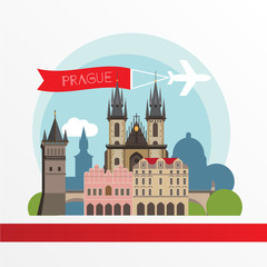 Poster Castle Prague detailed silhouette. Trendy stylish colorful landmarks.