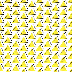 Black, white and yellow pattern with hand drawn triangle, repeating texture of a triangle vector illustration.