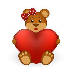 Brown teddy bear girl with a heart
