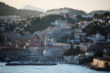 Old town of Dubrovnik at sunset time, Croatia