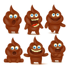 Set of cute poop emoji characters with different emotions