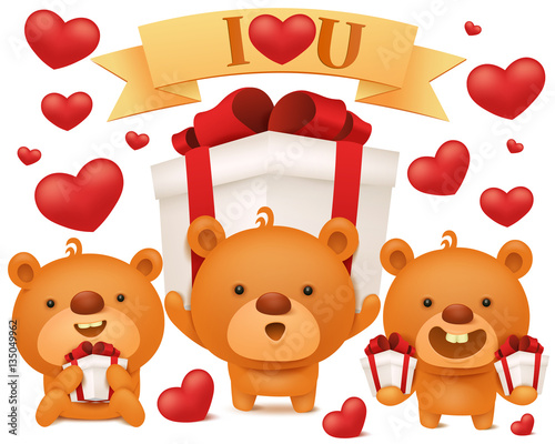 set of toy emoji teddy bears with gift boxes stock image and