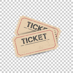 Old ticket with grunge effect. Flat vector illustration on isolated background.