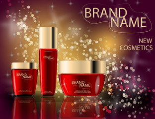 Glamorous face Beauty Care Products Packages on the sparkling effects background.
