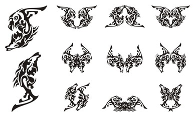 Tribal tattoo imaginary animal symbols. Abstract symbol in the form of the head of an eagle and the head of a horse. Double imaginary animal symbols in black and white options
