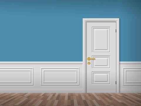 room interior with white door wooden floor and wall panels
