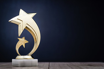 Elegant winners trophy with shooting stars
