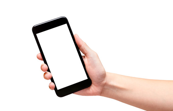 Hand holding black mobile phone with blank screen isolated on wh