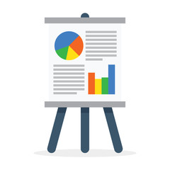 Flipchart, whiteboard screen with marketing data