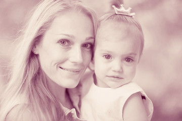 Mother and daughter love monochrome photo family
