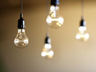 Shalow focus light bulbs hanging
