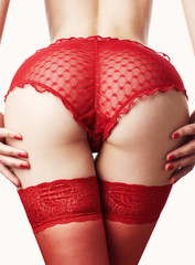 Sexy buttocks in red panties