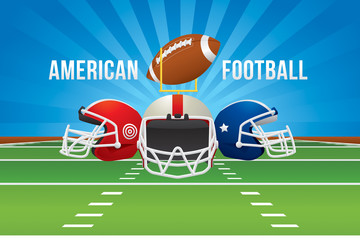 Vector of American football team with green field background.