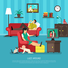 Lazy People Illustration