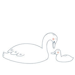 Swan Mother and Child