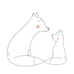 Fox Mother and Child