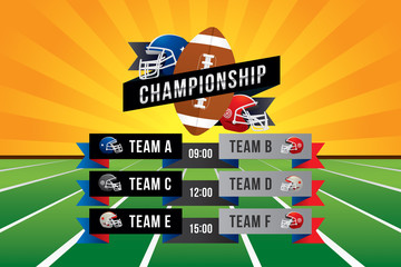 Vector of American football match on green field background.