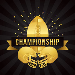 Vector of American football championship with gold theme template.