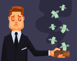 Businessman character lost money. Vector flat cartoon illustration