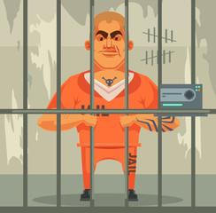 Prisoner man character in jail. Vector flat cartoon illustration