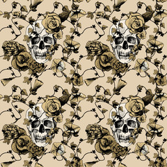 Seamless pattern skull in flowers
