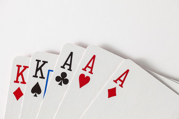 Playing Cards full house, kings and aces with space at top