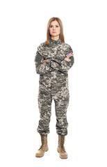 Pretty female soldier on white background