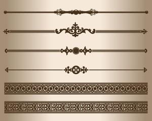 Decorative elements. Design elements - decorative line dividers and ornaments. Vector illustration.