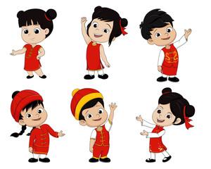 Set of Cartoon chinese children,Happy chinese new year.